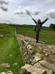 At last, a bit of real Wall - originally much taller, up to eleven courses. I walk on the path, it's Ann on the Wall